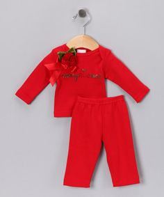 Take a look at this Red 'Merry Kissmas' Rosette Tee & Pants by Truffles Ruffles on #zulily today!