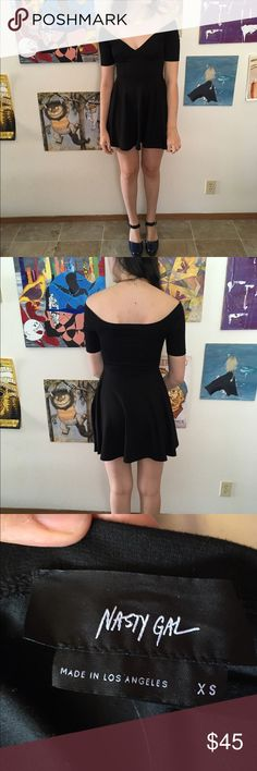 Nasty gal black shoulder less party dress Love this babe in such great condition but I never have anything to wear it to. It is an extra small so it will be really short on super tall ladies, would be ideal for a shorter person Nasty Gal Dresses Mini