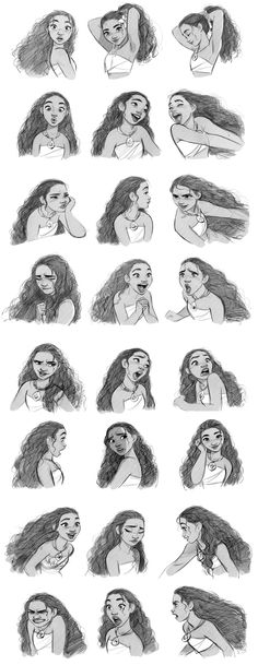 """Moana facial expressions. It was very challenging to make her every expressions and attitudes look like a 14 year old girl. Drawing a girl is always much harder than drawing a male character at least for me."""