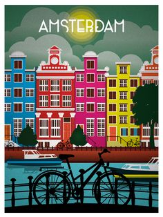 Vintage Travel art Print amsterdam holland canvas or satin photo poster Old Poster, Poster Poster, Print Poster, Kunst Poster, Plakat Design, Travel Illustration, Digital Illustration, Vintage Travel Posters, Retro Posters