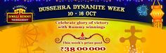 Win Cash Prizes worth Rs.38 Lakhs this Week at RummyCircle. Join the Dussehra Dynamite Rummy Tournaments now!