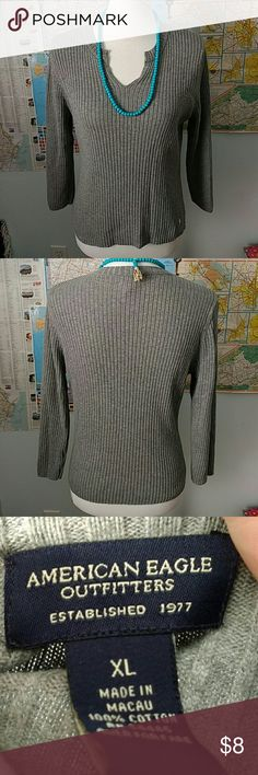 American Eagle Gray Cotton Sweater Super cute!! Gently worn. 💯% cotton! (Necklace not included) American Eagle Outfitters Sweaters V-Necks