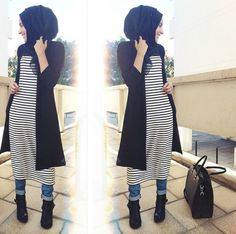 Image in hijab collection by lāmýāaę/ôujđà on We Heart It Islamic Fashion, Muslim Fashion, Modest Fashion, Fashion Outfits, Casual Hijab Outfit, Hijab Chic, Hijab Dress, Modest Wear, Modest Outfits