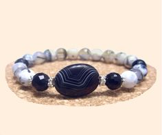 Agate Bracelet, Black Onyx Bracelet, 925 Silver Bracelet, Healing, Yoga, Meditation, Handmade, Natural Stones Bracelet, Gemini, Virgo de ArtGemStones en Etsy