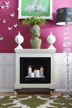 Movable candle fireplace.