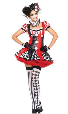 Harlequin Clown Costume - Includes ruffle trimmed suspender dress with pom pom…