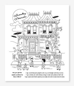Haunted House - Halloween Coloring Pages DIY for kids | Minted