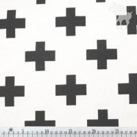 Black white cross on white - Stoffen - Bambiblauw