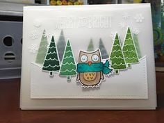 card christmas winter bird critters tree trees Lawn Fawn Winter Owl