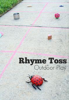 Rhyming Toss Outdoor Play - Fantastic Fun & Learning Outdoor Activities For Kids, Outdoor Learning, Outdoor Play, Fun Learning, Learning Activities, Outdoor Games, Summer Activities, Backyard Games, Creative Activities