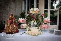 profiterole tower and various cakes