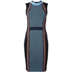Versace Runway Knit Sport Dress ($1,571) ❤ liked on Polyvore featuring dresses, blue, sleeveless dress, ribbed dress, cable knit dress, versace dresses and zip back dress