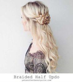 Braided Half Updo - The Prettiest Half-Up Half-Down Hairstyles for Summer - Photos