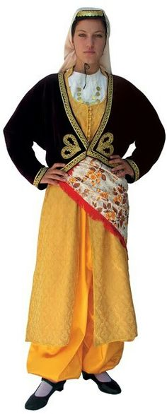 Traditional festive costume of the Greek-Orthodox inhabitants from the Pontos region (Black Sea coast + hinterland). This is a recent workshop-made copy, as worn by folk dance groups. Folk Costume, Costumes, Folk Dance, Black Sea, World Cultures, Traditional Dresses, Workshop, Fashion Outfits, Elegant