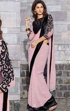 Picture of Excellent Cream Color Designer Sari Online