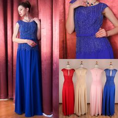 2015 Graceful Chiffon Floor-Length Party Scoop Neck Cap Sleeves A-Line Sequins Beading Handmade Zipper Sash Evening Dress