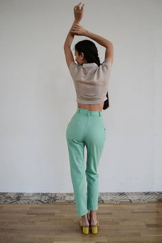 Your place to buy and sell all things handmade Vintage Pants, Vintage Outfits, Mint Pants, Size Model, Linen Fabric, High Waist, Trousers, Actresses, Elegant