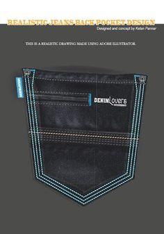 My Realistic Denim Jeans Back Pocket Designs on Behance Hipster Jeans, Patterned Jeans, Denim Jeans Men, Fashion Pants, Pocket, Skinny, Behance, Katana, Vintage Denim