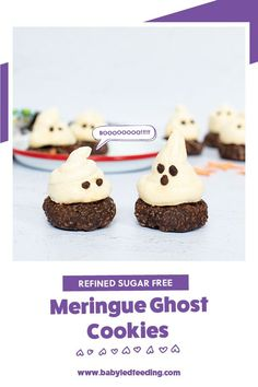 Refined sugar free meringue ghost cookies for Halloween! A healthy treat idea for Halloween parties. Healthy banana cookie base with a simple fluffy refined sugar free meringue top. #halloween #healthytreats #cookies #babyledfeeding #babyledweaning