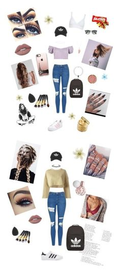 """""""A day in my shoes"""" by lologray ❤ liked on Polyvore featuring Topshop, WearAll, adidas, Casetify, Peter Thomas Roth, Sydney Evan, Anne Sisteron, Milani, Ray-Ban and Hanky Panky"""