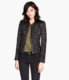Textured Zip Jacket with Leather Details