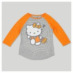 It's cutie meets spooky! The Hello Kitty® Halloween 3/4-Sleeve Raglan T-Shirt is a fun way to celebrate Halloween with the help of everyone's favorite kitty. She can wear it with skinny jeans or a skirt for a cute Halloween outfit for the school day before it's time to put on her costume. And when the lights go out and the monsters come out to play, the glow-in-the-dark shirt will make sure she makes it home in time for trick-or-treating.