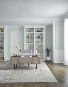 Behr just unveiled its 2022 Color of the Year as Breezeway (MQ3-21). This silvery green hue with cool undertones is inspired by seaglass found on the shore. | Photographer: Courtesy of Behr Behr Colors, Paint Colors, Green Apartment, Behr Paint, Living Room Photos, Cool Undertones, Paint Companies, Breezeway, Breath Of Fresh Air