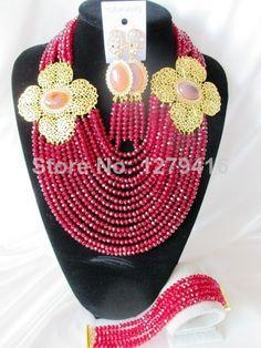 Fashion Nigerian African Wedding Beads Jewelry Set , Crystal Necklace Bracelet Earrings Set C1169 $98.88