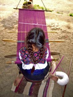 Girl weaving in Chiapas . Mexico