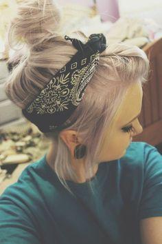 Lilac hair, bandana, and gauges