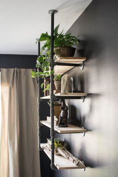 I love these open industrial style wood and pipe shelves on Joanna Gaines blog today!  Can't wait for the new season of Fixer Upper to start!