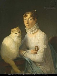 Marguerite Gerard, A lady with her cat, early 19th century.