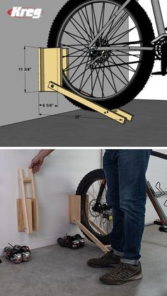FREE PROJECT PLAN: Bike Racks , Bikes leaning against the wall can quickly lead to a chaotic garage and to damaged bikes. Now you can store your bikes properly and take back your gar. Diy Bike Rack, Bike Storage Rack, Garage Bike, Bike Shed, Diy Wood Projects, Woodworking Projects, Range Velo, Garage Makeover, Garage Design