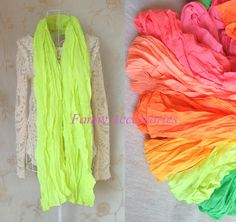 Unisex Vivid Bright Fluoro Neon Solid Colors Wrinkel Crinkel Scarf Shawl Stole | eBay
