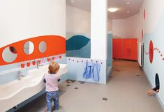Kids Activity: Creative and Colorful Kindergarten / Day Care by Baukind for Kita Hisa in Berlin. Kids Children Sink for Kindergarten Day Care. Kindergarten Interior, Kindergarten Design, School Bathroom, Baby Bathroom, Kids Room Design, Nursery Design, Kids Toilet, Restroom Design, Hospital Design