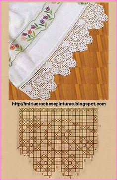 Luty Artes Crochet: Barrados p Crochet Dollies, Crochet Lace Edging, Crochet Motifs, Crochet Borders, Crochet Cross, Crochet Trim, Love Crochet, Irish Crochet, Crochet Stitches
