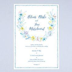 Wedgewood Flowers Wedding Invitation by Hollyhock Lane