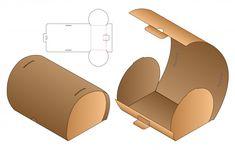 Curve box packaging die cut template design. 3d