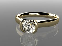 Moissanite Round Half Bezel Solitaire Engagement Ring in 14k Gold