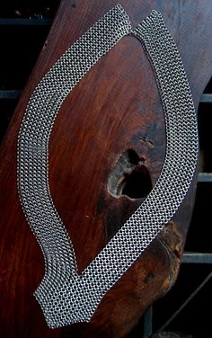 stainless steel mesh chainmaille necklace with v by metalandthread, $185.00