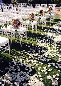 Floral garden chair stanchions, rose petal carpet aisle runner #ceremony_decor