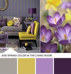 Tuesday Huesday: Do Opposites Really Attract? From HGTV's Design Happens Blog (http://blog.hgtv.com/design/2013/03/05/purple-yellow-gray-living-room-color-palette/?soc=pinterest)