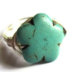Wire Wrapped Stones | Silver Turquoise Ring Wire Wrap Stone Unisex by gimmethatthing
