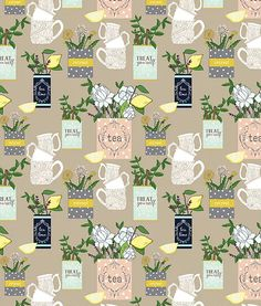Soothing Blooms A  blend of repeatable patterns, art prints , and food illustrations make up this refreshing collection of tea time florals and soothing herbs. This peaceful color palette lends itself to home decor linens, as well as ceramics.