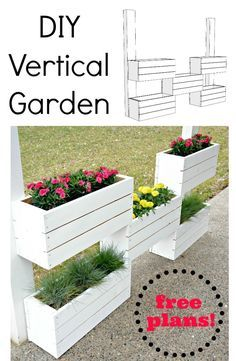 How to Build a Vertical Planter {The Home Depot DIY Workshop} Learn how to build this vertical garden. You only need a few simple tools. Lots of diagrams to help with this easy build! Plantador Vertical, Vertical Plant Wall, Jardim Vertical Diy, Vertical Planter, Vertical Garden Diy, Diy Planters, Garden Planters, Herb Garden, Garden Oasis