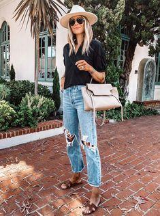 Jeans Estilo Boyfriend, Boyfriend Jeans Outfit Summer, Outfit Jeans, Summer Jeans, Outfits With Hats, Night Outfits, Jean Outfits, Fashion Outfits, Outfit Night