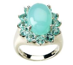 apatite & teal chalcedony ring