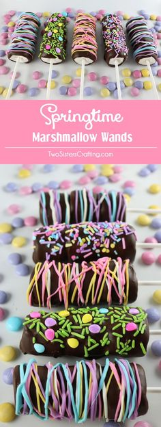 Springtime Marshmallow Wands - marshmallows on a stick covered with chocolate and decorated with sprinkles. Delicious gorgeous and so easy…
