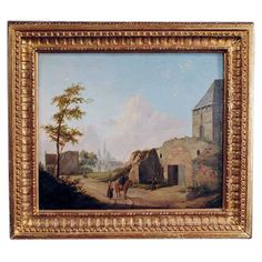 """Vermeersch (1810-1852) """"Village Scene"""", oil on board, dated 1830. Vermeersch was a Belgian born artist who also worked in Germany and painted primarily landscapes and village scenes. CIRCA DATA: 1830 DIMENSIONS: 15"""" h x 17"""" w"""