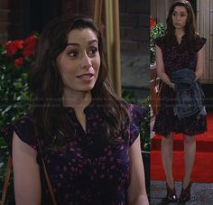 The Mother's blue and pink floral dress on How I Met Your Mother.  Outfit Details: http://wornontv.net/28825/ #HIMYM